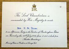 QUEEN ELIZABETH II 1958 Buckingham Palace Garden Party Invitation.
