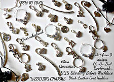 WEDDING THEMED CHARMS,CLIPON,BAIL,KEYRING,BOOKMARK,FAVOUR,GLASS DECORATION,CRAFT