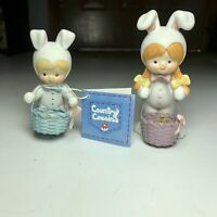 Vintage Enesco Country Cousins Scooter 1983 and Easter Egg Katie 2 pc figurines