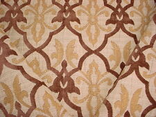 Pindler Superb Gold Chocolate Medallion Scroll Drapery Upholstery Fabric