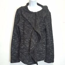 BNCI by BLANC NOIR Unique Fitted Short Sweater Jacket Womens Large Ruffles Assym