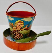 rare small tin sand pail 1950's Western Germany kids + extra buckut beach toy
