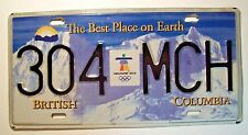 2010 British Columbia OLYMPIC License Plate 304*MCH  -- Vancouver -- Inukshuk