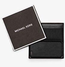 NWT Michael Kors Men Black Leather Logo Card Case & Phone 6 6s Set. Authentic!!