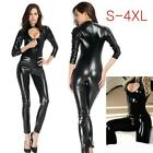 Sexy Damen Bodysuit Wet Look Catsuit Zentai Jumpsuit Overall Hosenanzug 4XL SH70