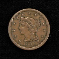 1856 1c BRAIDED HAIR LARGE CENT, VF+ COIN LOT#Y511