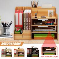 Wood Desk Pen Box Organizer Desktop Storage Drawer Container Office File