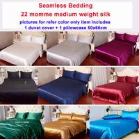 2pcs 22 Momme 100% Pure Mulberry Silk Duvet Cover Pillow Case Set Single Size
