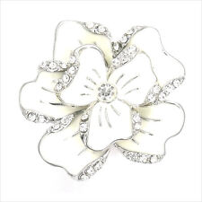 Paved Flower Cocktail Ring Costume Jewelry Enamel Cream Crystal Clear Size Adj