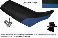 BLACK & ROYAL BLUE CUSTOM FITS YAMAHA TW 125 200 LEATHER DUAL SEAT COVER