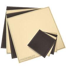 Square Placemats & Coasters Set Cream Brown Reversible Faux Leather Flip Mats
