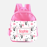 Personalised Cute Panda Bear Girls Pink Kids Backpack Childrens School Bag