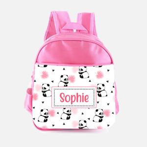 Personalised Cute Panda Bear Girls Pink Kids Backpack Childrens School Bag