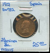 SPAIN 2 CENTS ALFONSO XIII 1912 XF-aUNC CONDITION 3RW 21DES