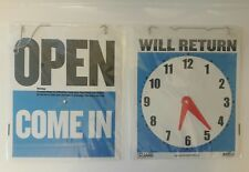 """Open Come In With Return Timer On Back sign Blue flexible plastic 8"""" x 9"""""""