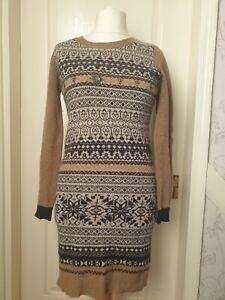 KEW 159 Size M Camel & Navy Merino Wool Embellished Jumper Dress- Winter Wear