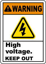 "High Voltage Keep Out Sign 8""x12"" .040″ Aluminum English/Spanish E3442"
