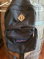 Vintage Jansport backpack leather bottom USA Black