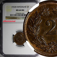 Switzerland Bronze 1932B 2 Rappen NGC MS64 BN FIRST YEAR FOR THE TYPE KM4.2a/092