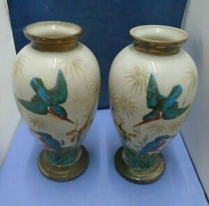 Two Porcelain Hand-painted Hummingbird Urn Shaped Vases