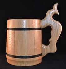 Wooden Beer Mug Tankard With Metal Insert 0.65L Stainless Steel Wood Cup Gift