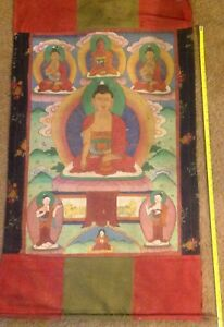 "RARE!!! NEPAL!! THANGKA PAINTING ABOUT 60 YEARS OLD.SIZE:26""x17"""