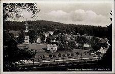Rautenkranz im Vogtland Sachsen s/w Postkarte 1942 gelaufen Gesamtansicht Kirche