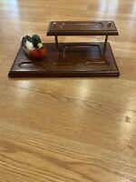 Vintage Dresser Valet,desk Tray, solid WOOD With Ceramic Duck
