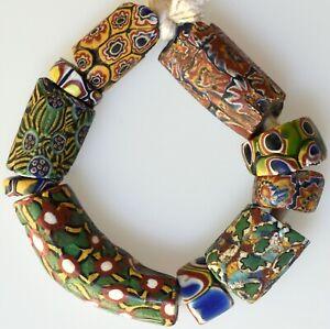 10 Mixed Venetian Millefiori Trade Beads - African Trade Beads