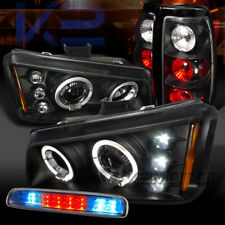03-06 Silverado Black Halo Projector Headlight+Tail Lamps+Clear LED 3rd Stop