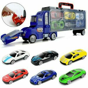 Toy Truck Carrier & 6 Mini Cars Play Set Transport Car Toys Lorry Truck Kids Toy