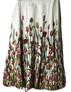 Coldwater Creek Tulip Print  Linen Blend Skirt A-Line Flared Midi Cottagecore PM