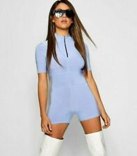 Boohoo BNWT Light Blue Slinky Unitard Playsuit Zipped Stretchy ~ Size 8
