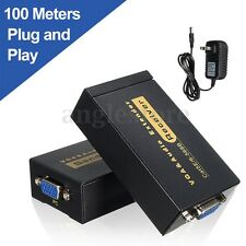 100M 328ft VGA Video Audio Extender Over Single RJ45 CAT5e/6 1080P Extension USA