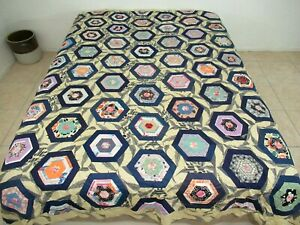 OUTSTANDING Vintage Hand Pieced Floral Feed Sack SPIDERWEB Quilt TOP Very Good!