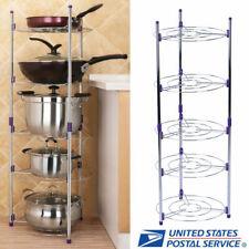 5 Tiers Kitchen Pan Pots Storage Rack Storage Wire Shelving Organizer Holder Usa