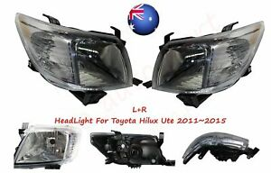 AU Pair LH+RH Left+Right Head Light Lamp For Toyota Hilux Ute 2011~2015 2WD 4WD