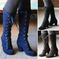 Women Steampunk Gothic Vintage Punk Shoes Lace Up Block Heel Knee High Boots