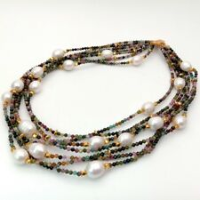 "19"" 7 Strands Natural Mixed Color Faceted Tourmaline White Rice Pearl Necklace"