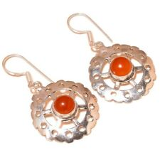 Cabochon Carnelian Gemstone silver plated Handmade Filigree Dangle Earrings