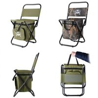 Foldable Backpack Fishing Chair Stool Cooler Bag Hiking Camping Outdoor Picnic