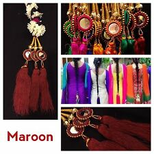 Bridal Maroon Parandi Punjabi Pakistani Mehndi Mirror Paranda Hair Braid Tassels
