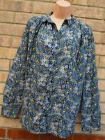 NEXT BLUE YELLOW FLORAL BAGGY BUTTONED LONG SLEEVE COTTON T SHIRT TOP BLOUSE 12