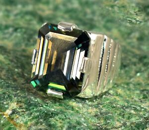 13.55 Ct Emerald Cut Green Diamond Solitaire Men's Ring Ideal Anniversary Gift