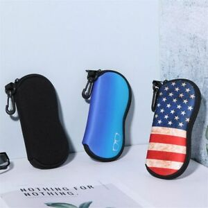 Portable Soft Zipper Eyeglass Pouch with Carabiner Sunglasses Case Glasses Case