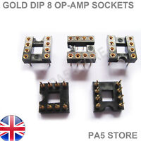 10x Gold Plated DIP 8 OP-AMP IC Sockets -  Audio Grade For NE5532 Burr Brown LM