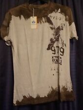 NWT Carlo Panunzi Fitted Brown Graphic T Shirt Men's Medium Designer