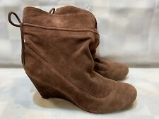 BCBG Generation Wedge Booties Brown Leather Suede Women's Boots Size 7.5