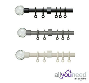13-16mm Metal Curtain Pole Set with Acrylic Ball Finials Black, Cream and Silver