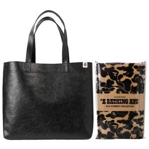 A Bathing Ape Bape 3D Camo Leather Shopping Messenger Shoulder Tote Bag Black
